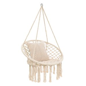 MECO 150KG Hängende Schaukel Baumwolle Hängesessel für Indoor Outdoor Hof Patio Veranda Garten Deck - Weiß