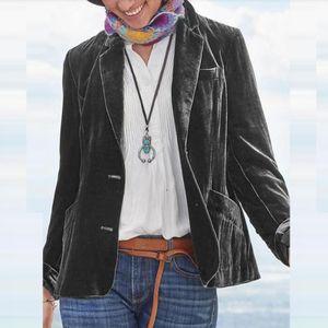 Damenmode Button Slim Fit Einfarbig Langarm Samt Kurzmantel Größe:XL,Farbe:Grau