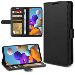 Handy Hülle für Samsung Galaxy A21s Tasche Schwarz Flip Case Cover Schutzhülle, Smartphone:Samsung Galaxy A21s