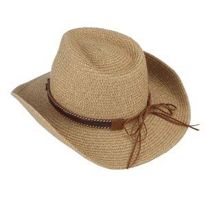Cowboyhut Strohhut Westernhut Sonnenhut Breite Krempe Hut für Strand Reise Party Urlaub Khaki