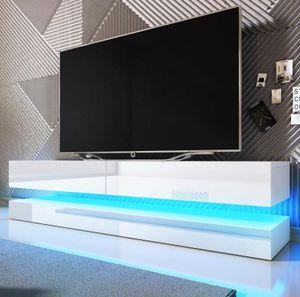 TV-Lowboard Fly in Hochglanz weiß TV-Unterteil 2-teilig 140 x 45 cm inkl. LED Beleuchtung