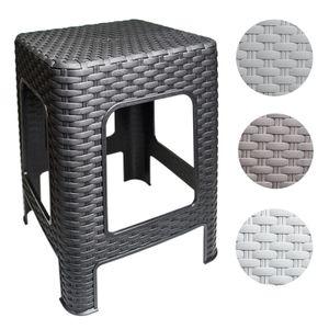 Hocker Rattan Badhocker Sitzhocker Fußhocker Stapelbar Kunststoff Campinghocker Tabure, Farbe:Braun