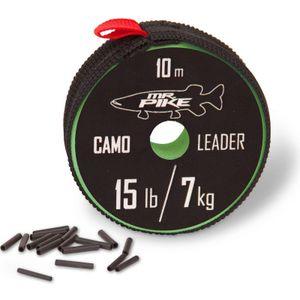 Quantum Mr Pike Camo Coated Leader Material 10m - Stahlvorfach, Tragkraft:7kg - 15lbs