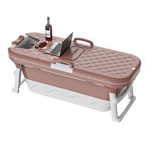 INSKER Faltbar Badewanne mit Deckel 138*63*52cm freistehend Sauna Bad Faß Erwachsenen Kinder, Farbe: Blau Pink