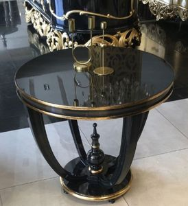 Casa Padrino Luxus Barock Beistelltisch Schwarz / Gold - Handgefertigter Massivholz Tisch - Barock Wohnzimmer Möbel