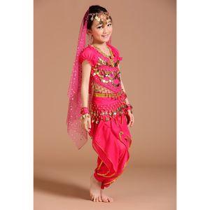 5 / Set Mädchen Bauchtanz Kostüm Outfit Hosen Bollywood Indian Carnival Rose S