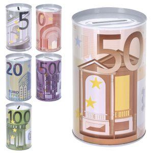 Spardose Euro Design klein - Sparbüchse - Sparschwein - Euroschein Dose - Kinder Metallspardose