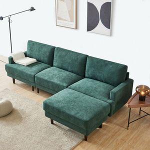 L Form Sofa Ottomane 3 Sitzer Stoffsofa Polstersofa Grün Wohnzimmersofa Loungesofa
