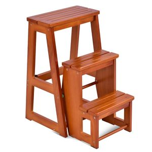 COSTWAY Stuhlleiter 3 Stufen, Hockerleiter klappbar, Trittleiter, Haushaltsleiter, Massivholz