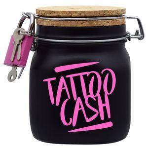 Spardose Geld Geschenk Ideen Tattoo Cash Schwarz Größe M 0.75 Liter