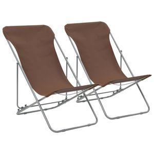 Klappbare Strandstühle 2 Stk. Stahl und Oxford-Gewebe Braun - Balkonstuhl Terrassenstuhl Relaxstuhl Liegestuhl