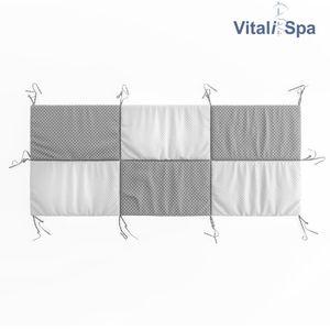 VitaliSpa Hausbett Kinderbett Bettrückwand Wiki 200x85 Grau-Weiß