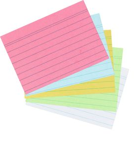 500 Herlitz Karteikarten DIN A8 / liniert / je 100x blau,rosa,grün,weiß,gelb