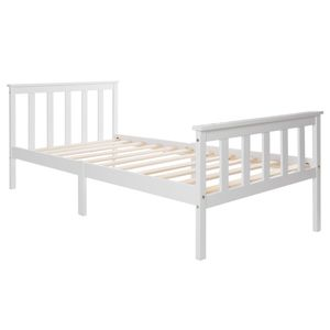 Einzelbett 90x200cm - Jugendbett Kinderbett Mit Lattenrost und Kopfteil  -Kiefer Massivholzbett , Weiß