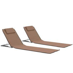 Hochwertigen Strandmatte, Faltbare Strandmatratze, Sonnenmatte 2 Stk. Stahl und Stoff Braun