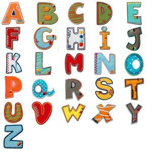Komplettes Alphabet einzeln auswählbar - Aufnäher, Bügelbild, Aufbügler, Applikationen, Patches, Flicken, zum aufbügeln, Größe:, Alphabet MQ bunt/blau:Buchstabe P 3.3 x 2.5 cm