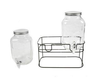 Getränkespender 2x4 Liter Glas Ständer Zapfhan Saftspender Wasser Dispenser
