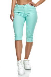 Damen Capri Jeans Big Size 3/4 Shorts Stretch Bermuda Hose, Farben:Mint, Größe:44