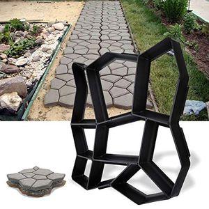 karpal Pflasterform DIY Schwarz Kunststoff Pflasterschablone Pflastermacher fachgerechter Aussenbereich Trittplatten Giessformen solide und stabil 43x43x4cm¡