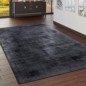 Teppich Handgefertigt Hochwertig 100 % Viskose Vintage Optisch Meliert Anthrazit, Grösse:160x230 cm