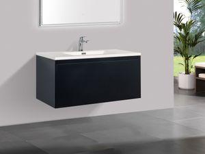 Badmöbel Unterschrank inkl. Waschtisch PLUTO 100 (matt-schwarz)