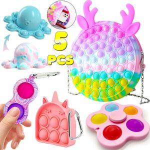 5x Fidget Toy Set Pop-It Push Bubble Sinnesspielzeug Mit Schultertasche Stressabbau Spielzeug Weihnachtsgeschenk