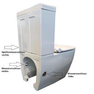 Stand WC Weiss mit Geberit Spülkasten Komplett Keramik Toilette inkl. WC-Sitz | Tiefspüler |  geräuchlose leise Absenkung | Softclose WC-Set GEBERIT Spülgarnitur