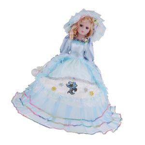 1 Stück Porzellanpuppe , Farbe Blaues Kleid