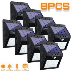 8Pack 20 LED Solar Lampe Solarleuchten m Bewegungsmelder Außen Gartenlampe Wandleuchte