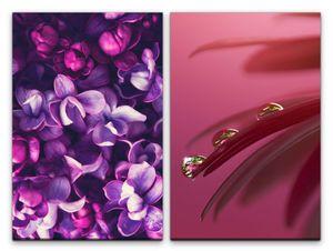 2 Bilder je 60x90cm Orchideen Blüten Wassertropfen Blumen Dekorativ Fotokunst Feminin