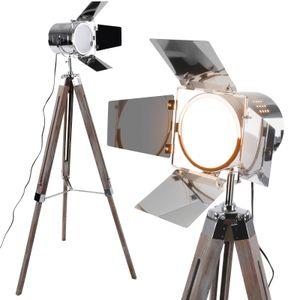 Stehlampe mit Stativ aus Holz - Antikes Holz, EEK: A++ bis E, LED, E27, Höhenverstellbar max. 148 cm, Vintage - Tripod lampe, Dreifuss Stehleuchte, Standleuchte, Studiolampe - für Wohnzimmer, Schlafzimmer, Büro