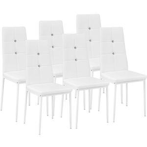 tectake 6 Esszimmerstühle, Kunstleder mit Glitzersteinen - weiß