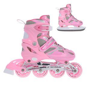 NILS NH18366 Kinder 2in1 Skates / Inliner - Schlittschuhe / Verstellbar (Gr. 31-34, 35-38, 39-42) / ABEC7 Kugellager / Rosa