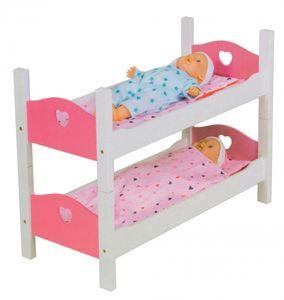 Holz Puppenbett Etagenbett Stapelbett Bett mit Zubehör Weiß/Pink 2 Teilig