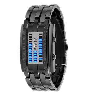 Wasserdichte ueberzug-Uhr-Luxusedelstahl-binaere leuchtende LED-elektronische Anzeigen-Uhren