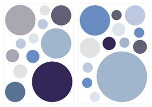 dekodino® Wandtattoo Pastell Punkte in Blau und Grau 25 Stück Wandsticker Set