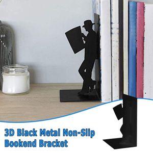 Rutschfeste Buchstützenhalterung aus schwarzem Metall Schweres Buchende Bürobuchstopper
