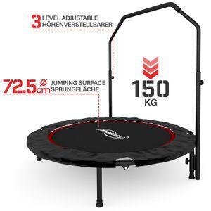Physionics® Fitness Trampolin - Ø 101 cm, höhenverstellbarer Haltegriff, bis 150 kg, klappbar - Mini-Trampolin, Aerobic Trampolin für Erwachsene und Kinder, Indoor, Jumper, Rebounder