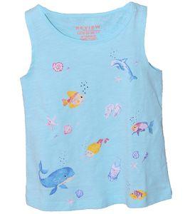 REVIEW FOR KIDS Kinder Shirt bequemes Top mit Meeres-Print Türkis, Größe:92