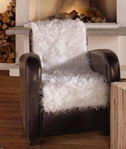Sitzauflage 'Fell' kuschelweiches Schaffellimitat Weiß rustikal und trendig