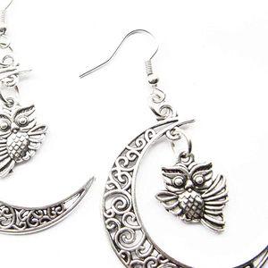 Mllaid 2Paar Mond- und Steinkauz-Ohrringe Mond-Schmuck Mondsichel-Schmuck Eulen-Ohrringe, Silber Charme-Ohrringe