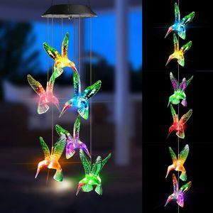 Dadanar Solar Wind Glockenspiel Garten Dekoration Licht Solar Kolibri Lichter