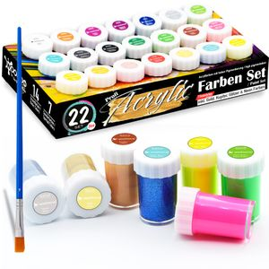 woohoo4u® Profi Acryl-Farben Set Künstlerfarben mit Pinsel - [ 21 Farben ] wie Gold, Kupfer, Silber, Glitzer, Neon Farben, Acrylfarben 20 ml, wasserfest für Leinwand, Holz, Ton, Papier