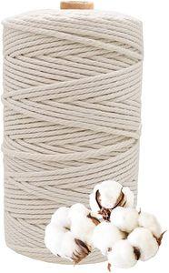 Makramee Garn, Kordel, 3mm x 200m Baumwollgarn Super für Anfänger, Gartenarbeit, Kochen, Basteln und Mehr Dekoration