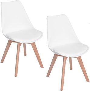 HJ 2er set Skandinavischen Retro Design Stuhl Kunststoff PP Esszimmerstühle mit Massivholz Buche Bein  Weiß