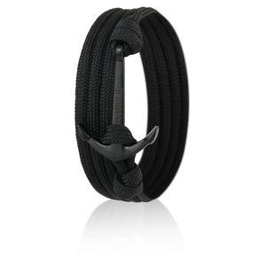 Skipper Anker-Armband mit Edelstahl Anker für Damen und Herren - Schwarz 7741, Ankerfarbe:Schwarz