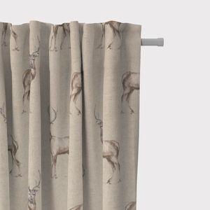 SCHÖNER LEBEN. Vorhang Fryett`s Halbpanama Landhaus Hirsch natur braun 245cm oder Wunschlänge, Gardinen Aufhängung:Smok-Schlaufenband