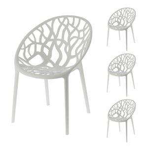 Stuhl Design Forest in weiß 4er Set Waldmotiv Baummotiv stapelbar Gartenstuhl Kunststoff