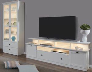Wohnwand Baxter 3-teilig in weiß Landhaus Wohnkombination TV Komforthöhe 273 x 196 cm