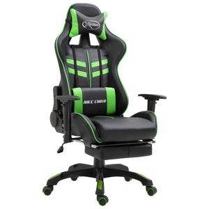 Bürostuhl Drehstuhl Schreibtischstuhl Gaming-Stuhl mit Fußstütze Grün Kunstleder